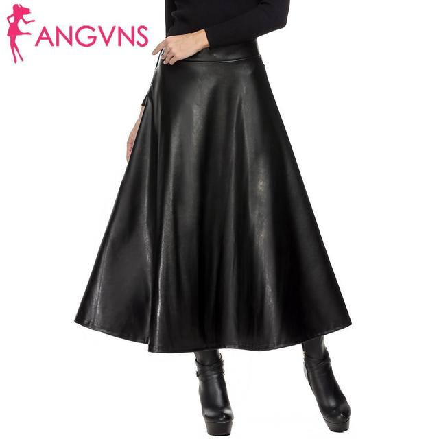 ANGVNS Vintage Slim Zipper Pleated High Waist Casual Hip Leather Women Swing Skirt