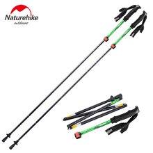 Naturehike 1Pcs lightweight Five Section Fold Walking Stick Ultra light 7075 Sponge Handle Professional Lock Trekking Pole NH15A
