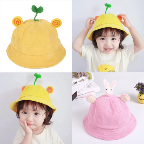 Cute Fashion Casual Solid Corduroy Holiday Travel Baby Sun Hat Summer Beach Hat Bucket Cap Toddler Kids Boy Girl 2-4 Year