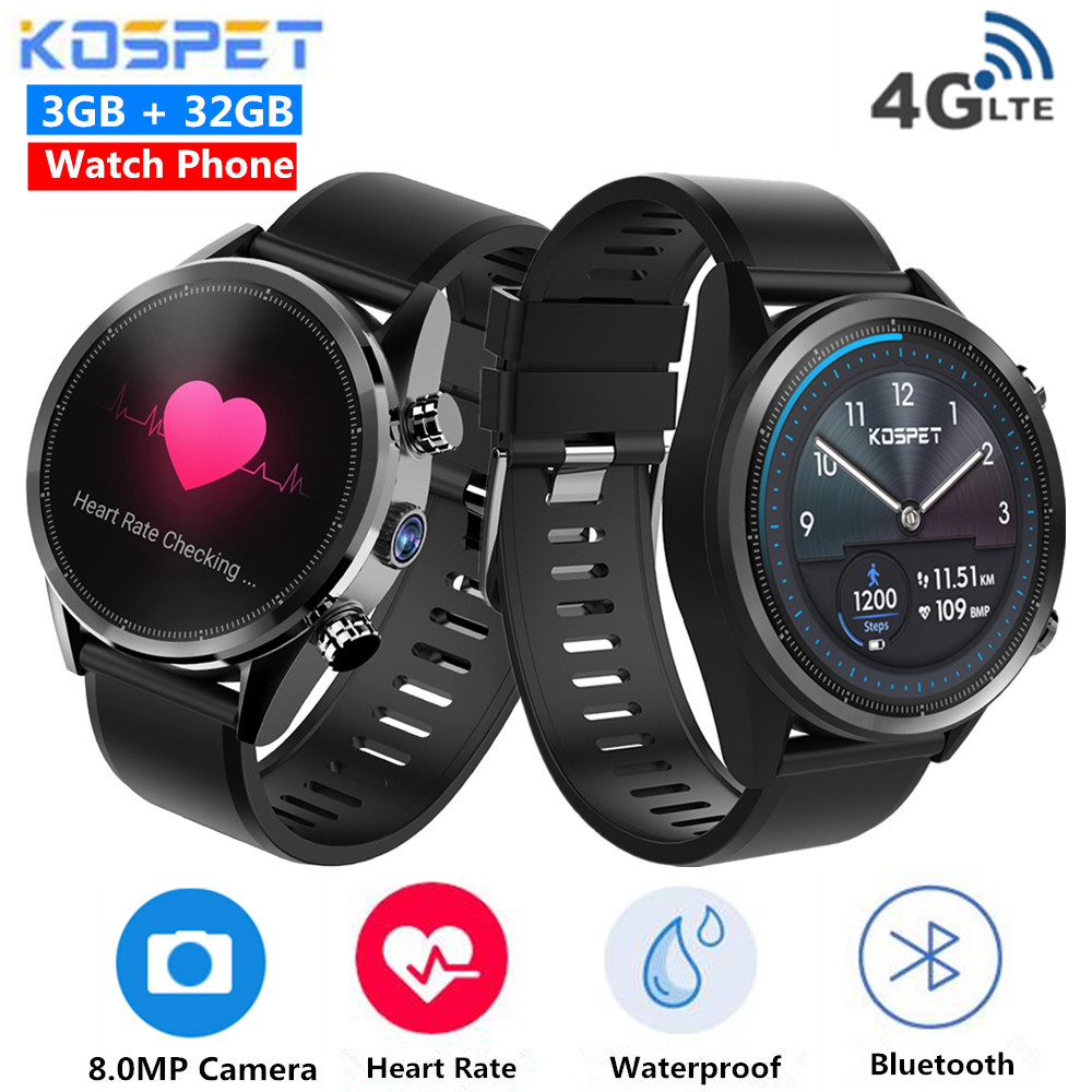 New Kospet Hope 4G Smartwatch Cellphone Android 7.1 Quad Core 1.3Ghz 3Gb Ram 32Gb Rom 8.0Mp Digital camera Ip67 Bt4.zero Waterproof Sensible Watch