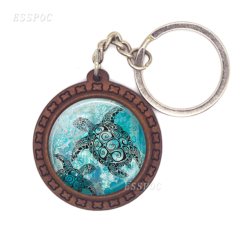 Turtle Dolphin Fish Art Picture Wooden Keychain Car Key Holder Sea Turtle Glass Cabochon Pendant Alloy Key Rings Key Holder image