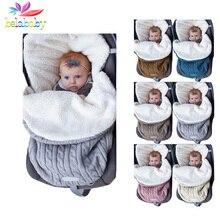 Зимняя вязаная утолщенная пеленка для сна для малышей однотонная теплая прогулочная коляска для новорожденных спальный мешок мягкий конверт для новорожденных