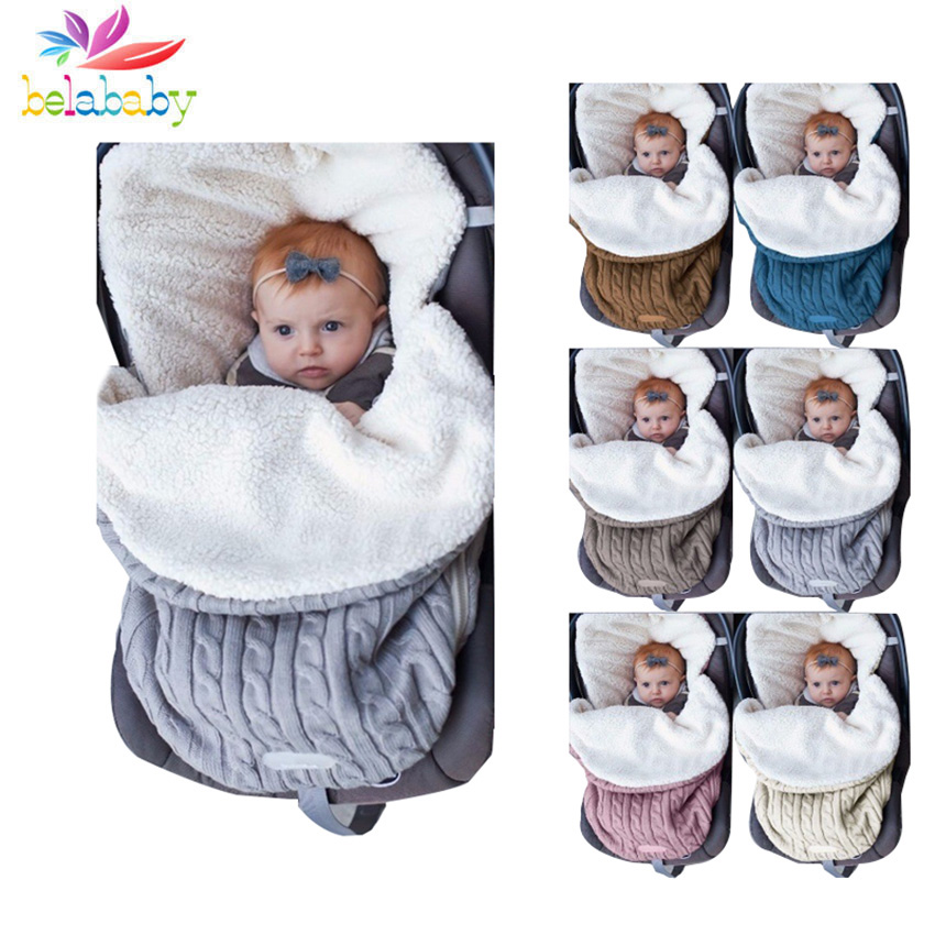 2019 Winter Knitted Thicken Sleeping Swaddle Baby Toddler Solid Warm Stroller Newborns Sleeping Bag Soft Envelope For Newborns