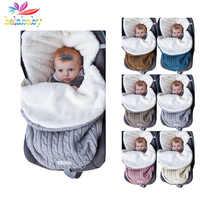 2019 inverno de malha engrossar dormir swaddle bebê criança sólida quente carrinho recém-nascidos saco dormir envelope macio para recém-nascidos