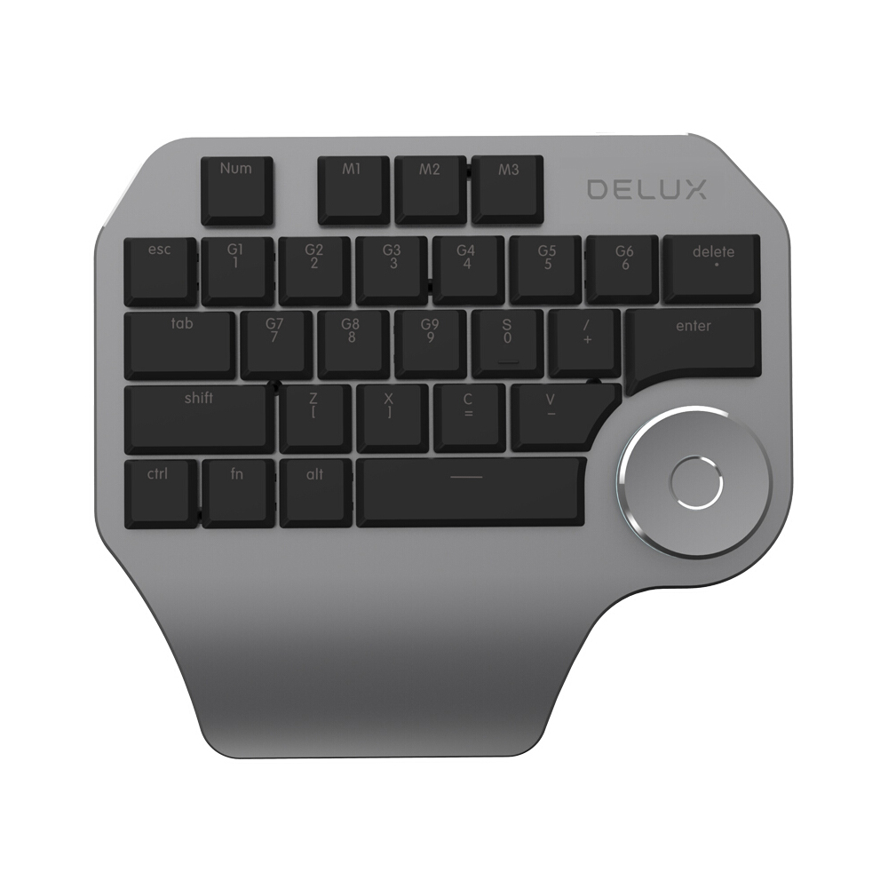 Delux T11 Designer Keyboard Keypad with Smart Dial 3 Group Customized Keys for Windows Mac OS