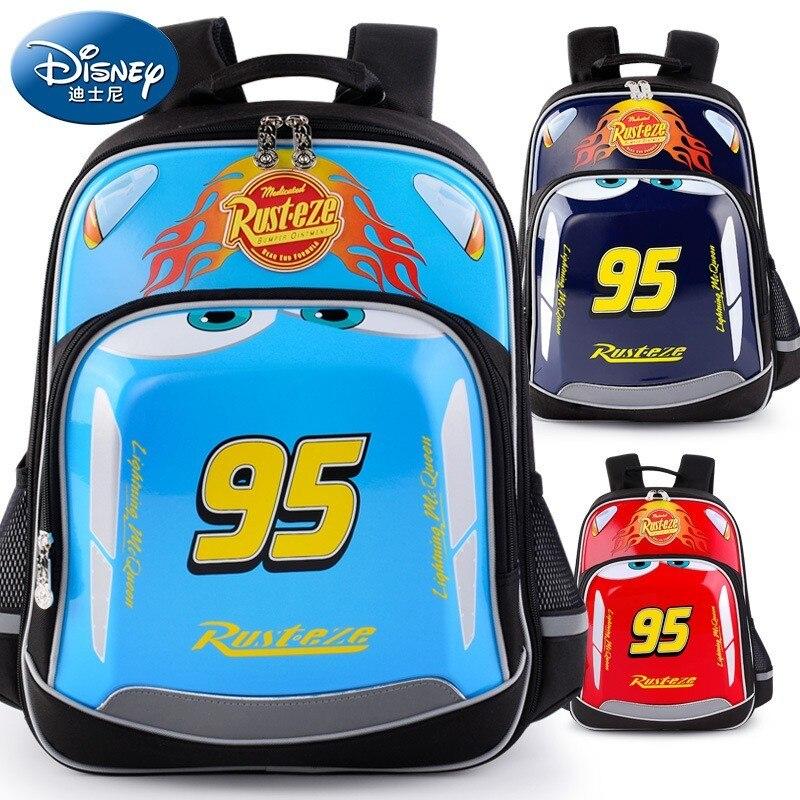 Disney 2019 Lightning McQueen Waterproof Orthopedic School Book Backpack Cartoon Ultralight Kids Large Capacity Bag Grade