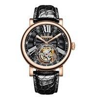 Риф Тигр/RT Роскошные повседневное часы для мужчин розовое золото аллигатора ремень Tourbillon Автоматический часы RGA1999