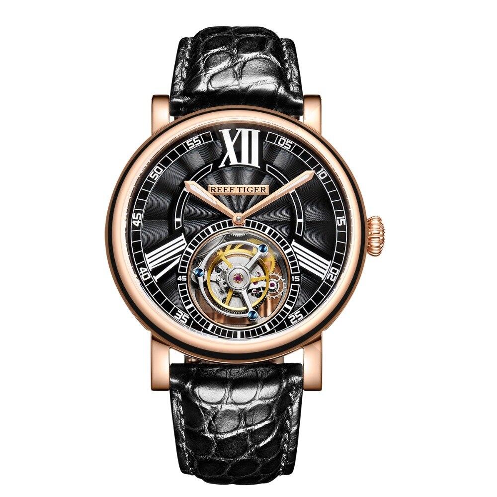 Hingebungsvoll Riff Tiger/rt Luxus Casual Uhren Für Männer Rose Gold Alligator Strap Tourbillon Automatische Uhren Rga1999