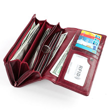 Купить с кэшбэком Fashion Vintage Women Wallets Genuine Leather Female Handbag Ladies Long Zipper Clutch Wallet Coin Purse Phone Pocket Billetera