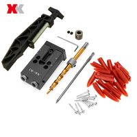 Newest 2019 XK R2 Woodworking Pocket Hole Jig Set 9.5mm Angle Drill Guide & Pocket Hole Joint Fixed Clamp Black