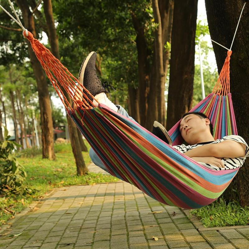 Portable Hammock Outdoor Garden Hammock Home Travel Camping Swing Canvas Stripe Hanging Bed Hammock 4 ColorsPortable Hammock Outdoor Garden Hammock Home Travel Camping Swing Canvas Stripe Hanging Bed Hammock 4 Colors