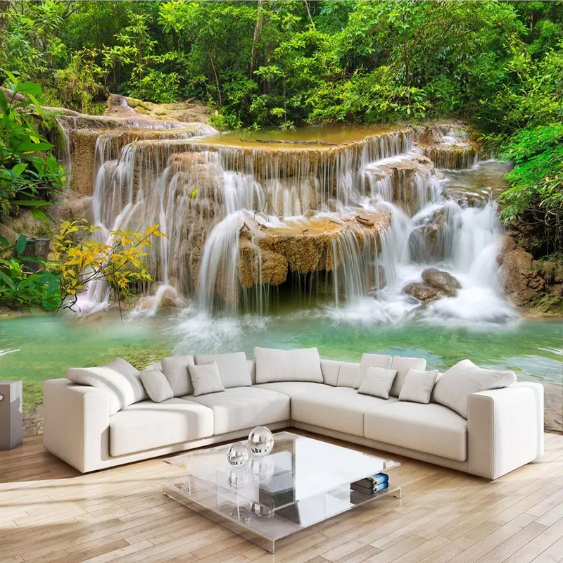Custom 3D Photo Wallpaper Home Decor Waterfall Nature Landscape Wall Mural Wall Paper For Living Room Bedroom Canvas Painting