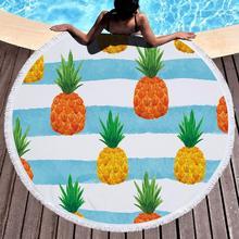 Printed Pineapple Beach Towel Round Watermelon Microfiber Towels Large Blanket Picnic Yoga Mat Sunbath Bath Summer