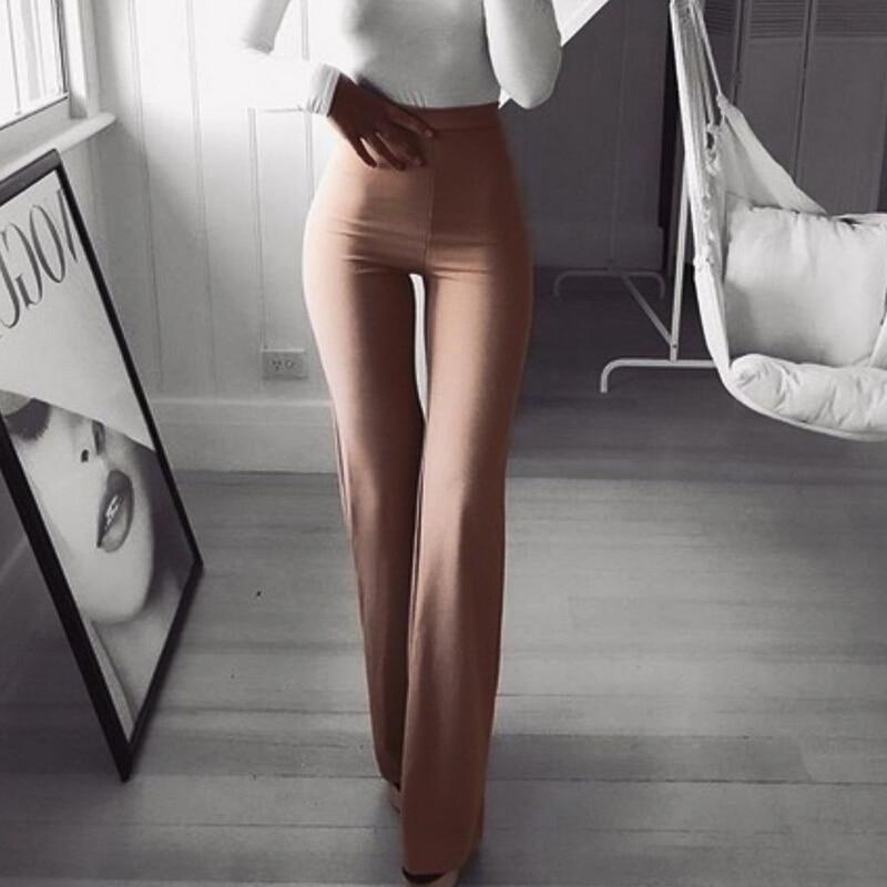 Flare Pants Women Solid Wide Leg High Waist Trousers Women Solid Elastic Bell Bottom Pant Workwear Pants & Capris Pantalon Femme