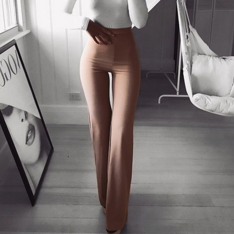 Flare   Pants   Women Solid Wide Leg High Waist Trousers Women Solid Elastic Bell Bottom   Pant   Workwear   Pants   &   Capris   Pantalon Femme