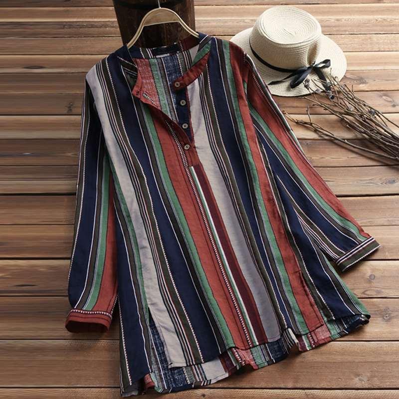 2019 Spring Women Striped Patchwork Blouse Long Sleeve Work Office Blusas Ladies Button Shirt Chemise Femme Tops Plus Size 5XL