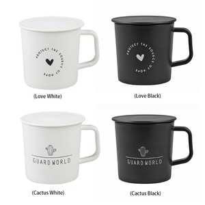 Creative Plastic Mugs With Lid Cactus Love Pattern Water Cup BPA Free Office Coffee Milk AntibreakDrinkware Simple Classic Mugs
