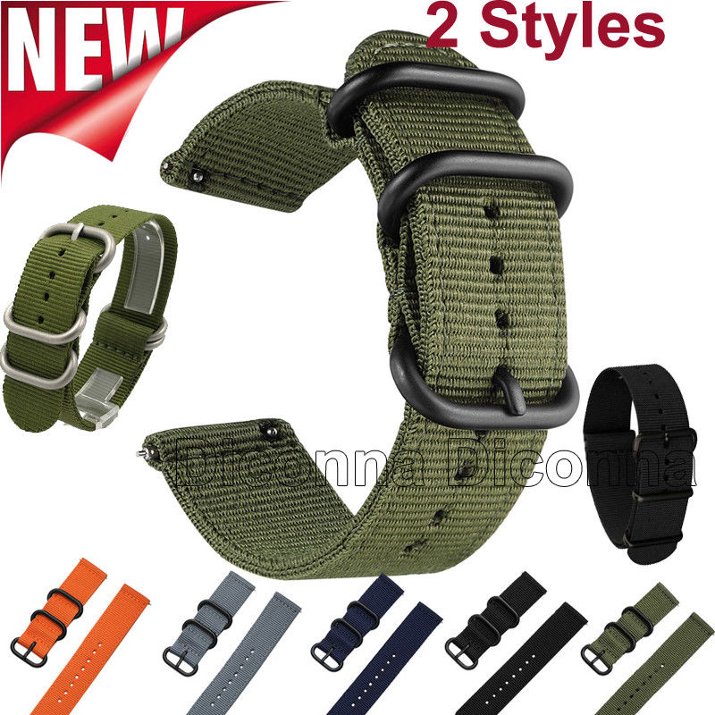 18/20/22/24 Mm Nylon Fabric Canvas Wrist Watch Band Strap Military Classic Buckle Cargo (No Quick Release Pins)