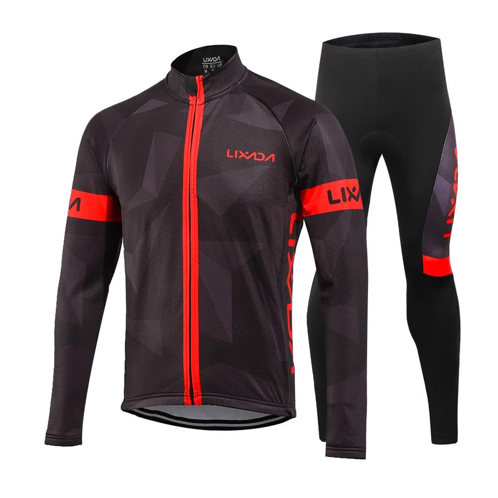 Lixada Men s Winter Thermal Fleece Cycling Clothing Set Long Sleeve Windproof Cycling Coat Jacket with