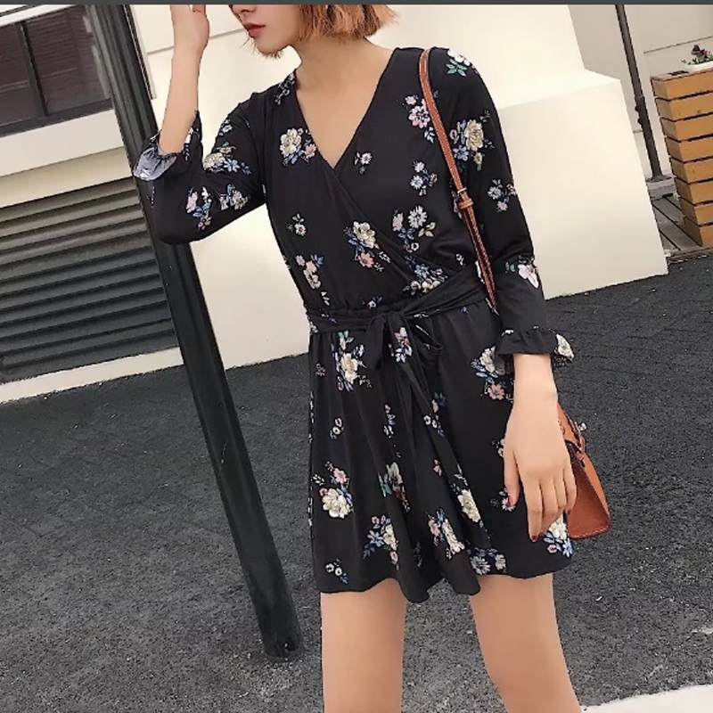 Women Summer Jumpsuit Romper Long Sleeve Sashes Elegant Loose Black Playsuits Casual Sexy V neck Print Floral Party Bodysuit