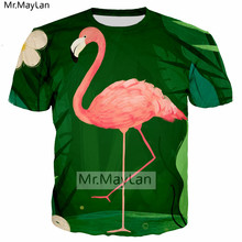 Flamingo Palm Leaves 3D Print Tshirt Women/men Hiphop Gothic Casual T-shirt Boys Modis T shirt Man Green Clothing Harajuku 5XL