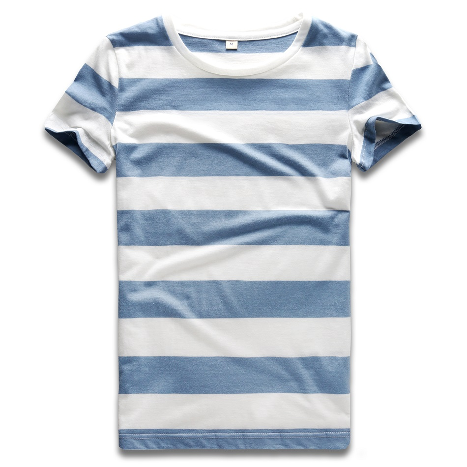 Blue and White Striped T Shirt for Women Colorful Stripe Tshirt Crew Neck Top Tees Woman Short Sleeve Sailor Top
