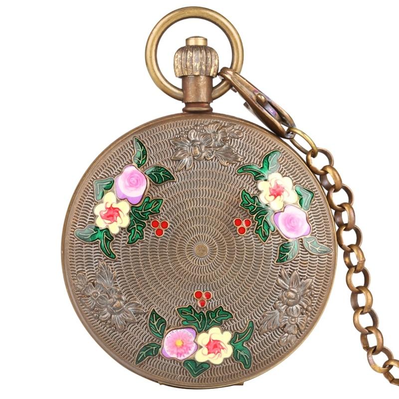 Retro Carved Elegant Flowers Design Pure Copper Tourbillon Sun Phase Mechanical Pocket Watch Double Hunter Chain