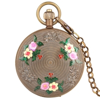 Retro Carved Elegant Flowers Design Pure Copper Tourbillon Sun Phase Mechanical Pocket Watch Double Hunter Chain Watch FOB Gift