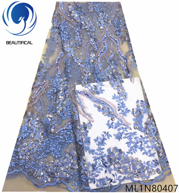 Beautifical embroidered blue lace fabric european lace fabric french net 5 yards/lot nigerian lace fabrics with sequins ML1N804