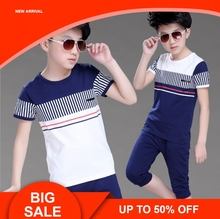 Boys Summer Clothing Set Fashion Casual Sports Short Sleeve Cotton Children Clothes Sets Color Navy / White стоимость