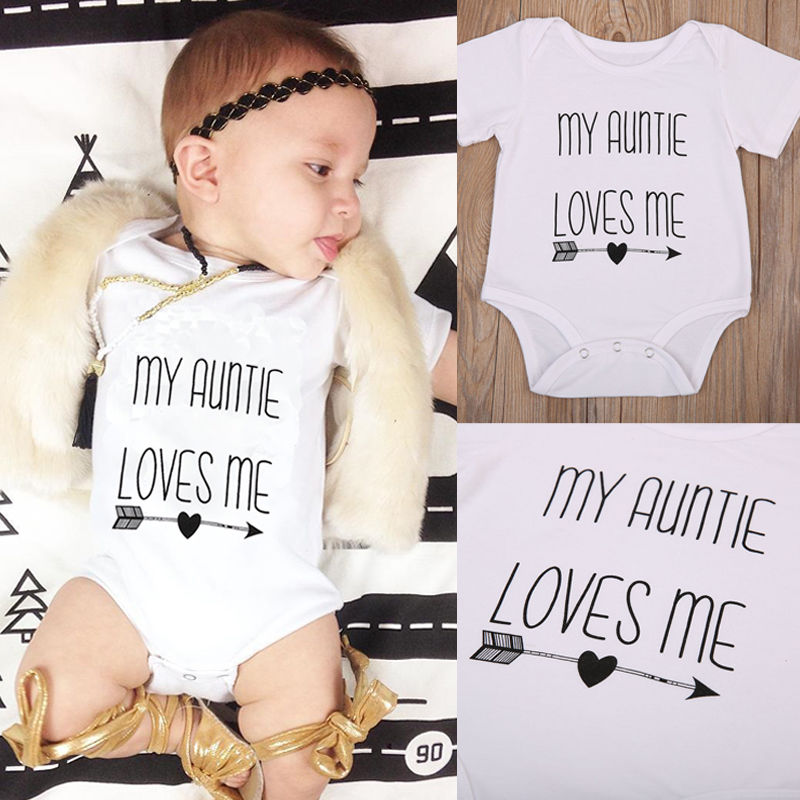 Pudcoco Babys Jumpsuits 0M-18M My Auntie Love Me Baby Boy Girls   Romper   Jumpsuit Cotton Clothes Outfits