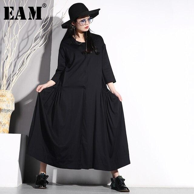 [EAM] 2019 New Spring Summer Round Neck Long Sleeve Black Loose Long Big Pocket Pleated Big Size Dress Women Fashion Tide JO577