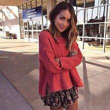 цены на Hot Fashion Women Knitted Pullover Jumper Sweater Round Neck Long Sleeve Knitwear Tops Loose Pullover Oversized Jacket Coat Tops в интернет-магазинах