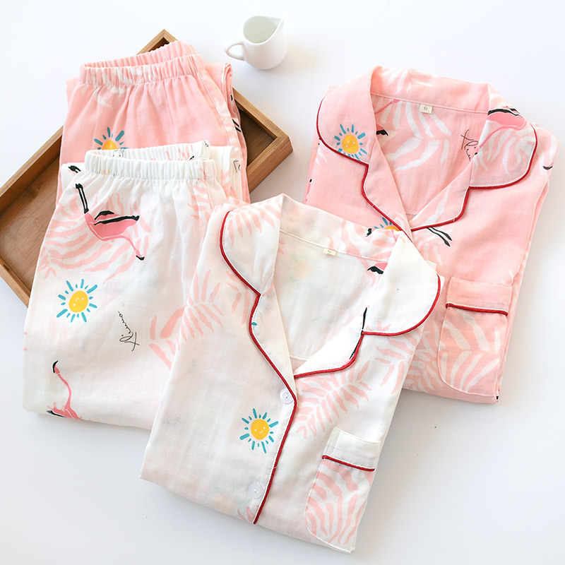 2019 New Spring Cotton   Pajama     Set   Shuttle Woven Double Layer Gauze Pijama Mujer Women's Long-sleeved Trousers Pink Pyjamas Suit