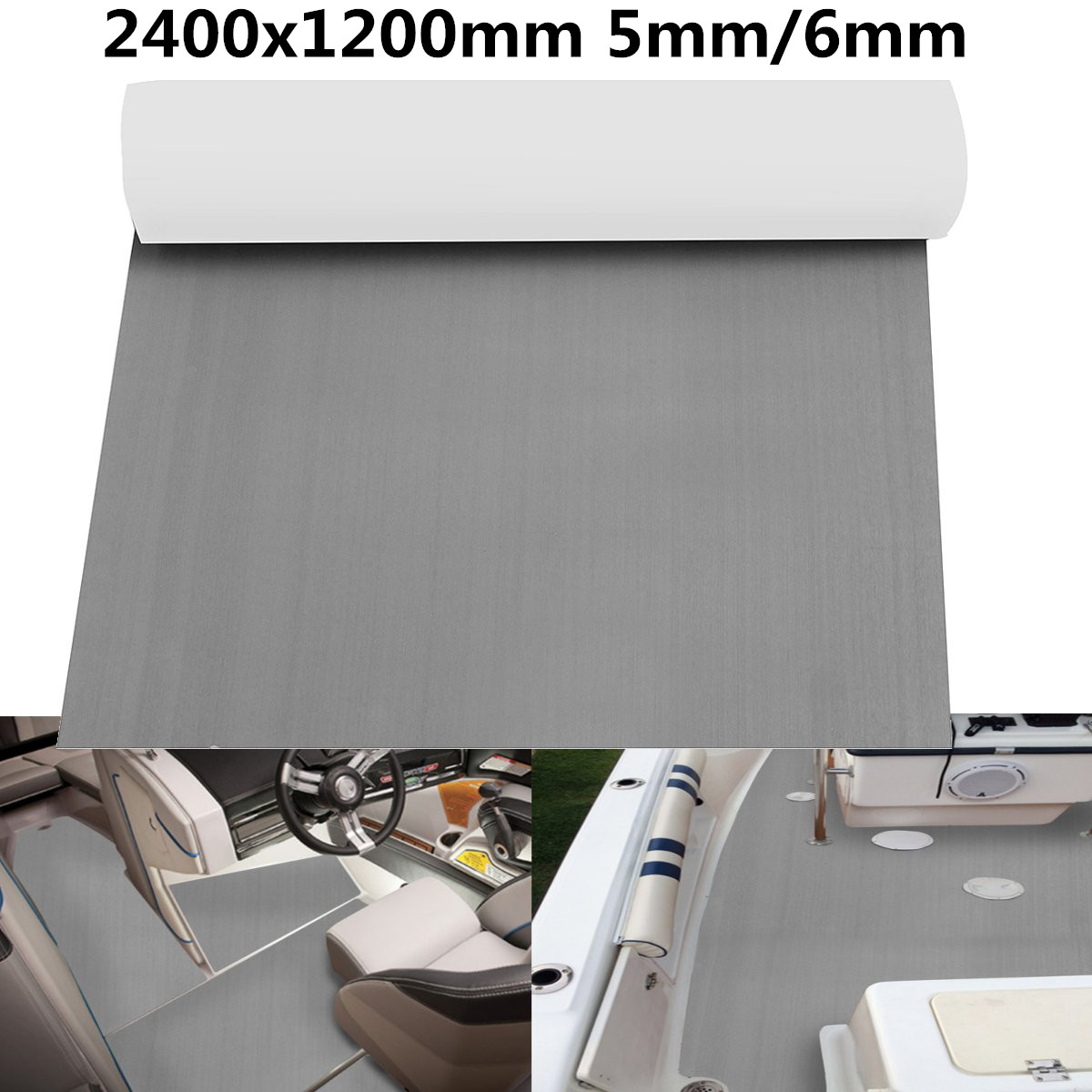 Self-Adhesive 2400x1200mm 5mm/6mm EVA Foam Marine Boat Yacht Flooring Synthetic Faux Teak Decking Sheet Pad Floor Mat Brown GraySelf-Adhesive 2400x1200mm 5mm/6mm EVA Foam Marine Boat Yacht Flooring Synthetic Faux Teak Decking Sheet Pad Floor Mat Brown Gray