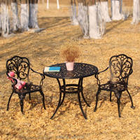 1 стол 2 стулья Новый патио мебель современный дизайн садовый стул и стол литой алюминиевый бистро набор в античной меди