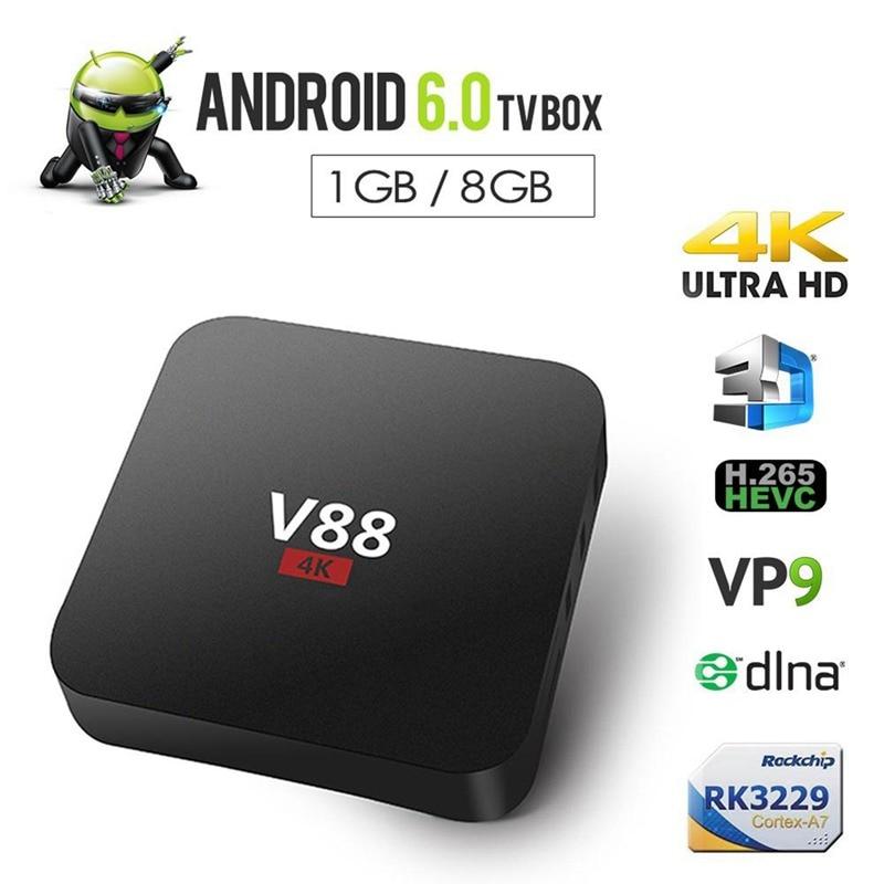 Home Theater V88 RK3229 Smart TV Set-Top Box Player 4K Quad-Core 8GB WiFi Media Player TV Box Smart HDTV Box Applies to Androi