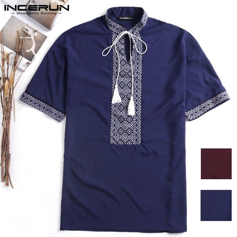 INCERUN Ethnic Men Shirts Dress Short Sleeve Stand V Neck Embroidery Print  Drawstring Casual Shirts Men Camisas Chemsie Big