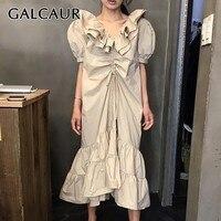 GALCAUR Solid Casual Women Dress Ruffled Collar Puff Sleeve Ruched Asymmetrical Midi Dresses Female Fashion Summer 2019 New