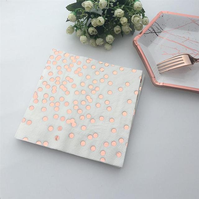 20PCS Bronzing Dot Rose Gold Napkin Printing Disposable Party Wedding Tissue Decoration Napkin Paper Towel