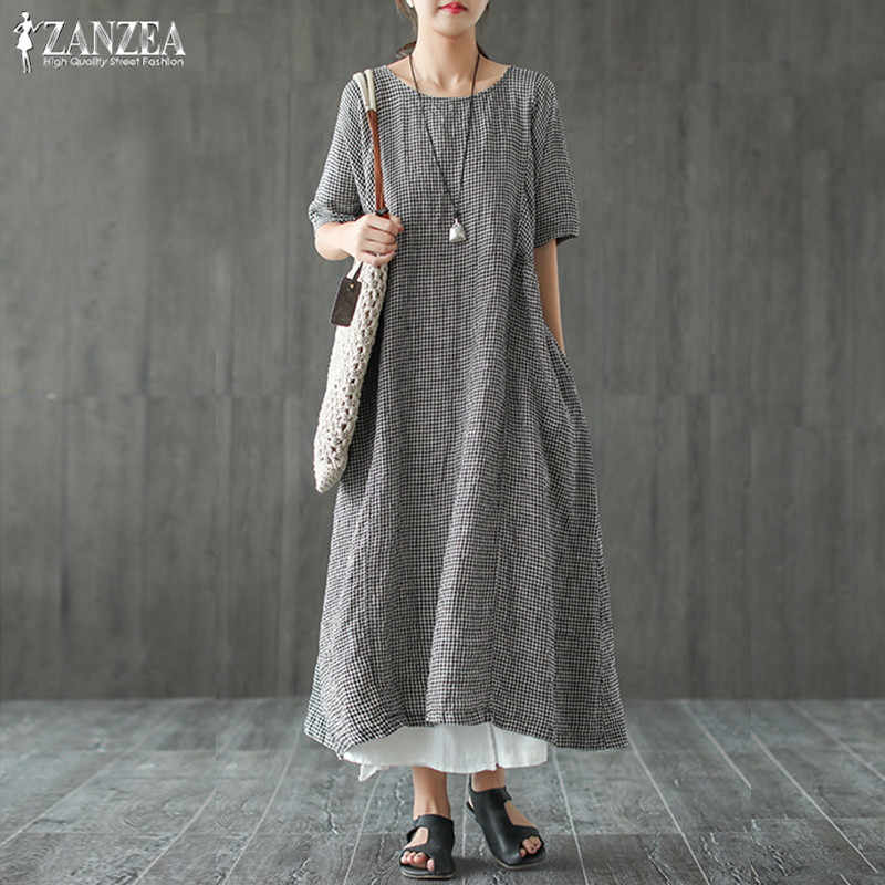 81aea191ab8c ZANZEA 2019 Summer Dress Women Vintage Plaid Check Long Maxi Dress Female  Casual Short Sleeve Party