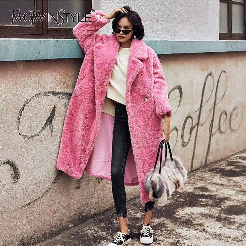 TWOTWINSTYLE Faux de Fourrure D'agneau de Femmes Hiver Veste Manteau À Manches Longues, Plus Épais Rouge Chaud Cardigan Manteau Femelle 2018 De Mode nouveau