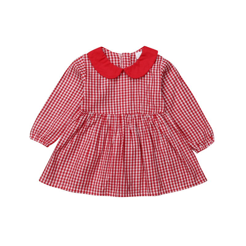 Supply Autumn Long Sleeve Peter Pan Collar Dresses Red Plaid Clothes Girls Clothing Outfit Cotton Toddler Children Kids Baby Girl Dress Mother & Kids Dresses