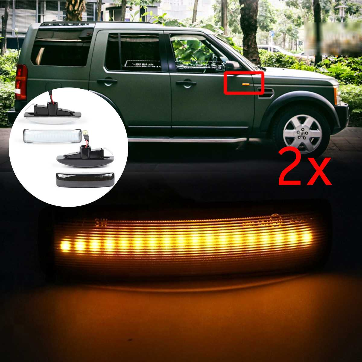 2x Dynamic Sequential LED Side Marker signal Light For Range Rover sport L320