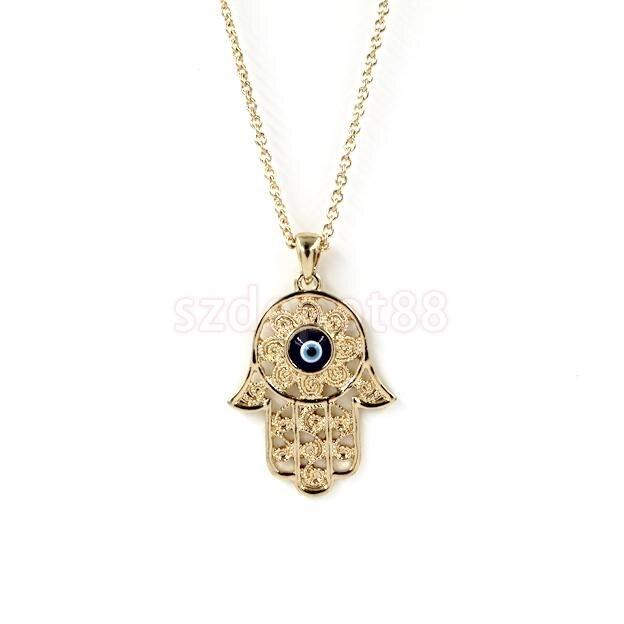 Fashion Gold Hamsa Hand of Fatima Evil Eye Pendant Necklace Chain Jewelry