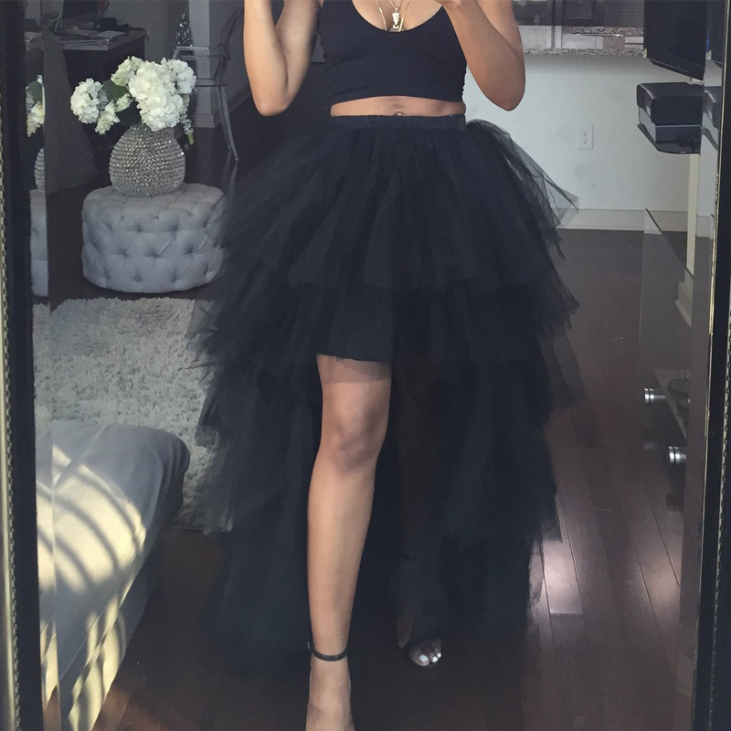 Women Tulle Skirt Irregular High Elastic Waist Sexy Dinner Party Saias Maxi Long Skirt Femme Floor-Length Mesh Tutu Faldas Jupe