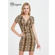 Uguest Elegant Mini Women Dress V Neck Snake Print Summer Black New Arrival Lady Dresses