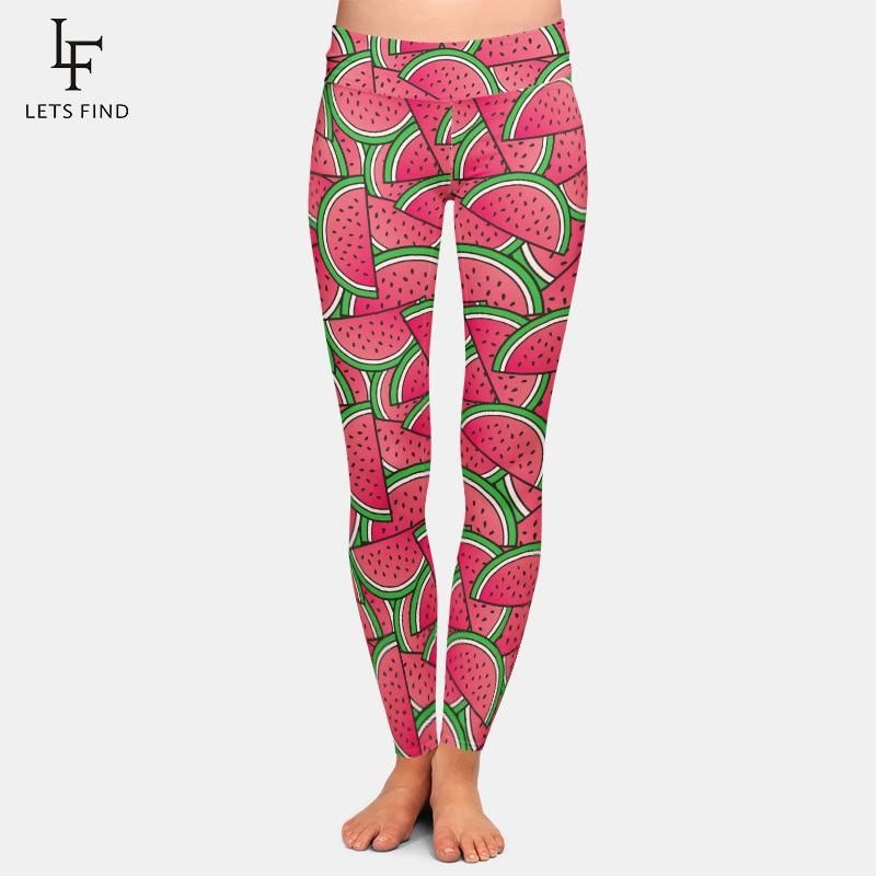 2019 Fashion Women Leggings For Summer 3D Watermelon Print High Waist  Plus Size Fruit Printed Fitness Leggings Women Pants