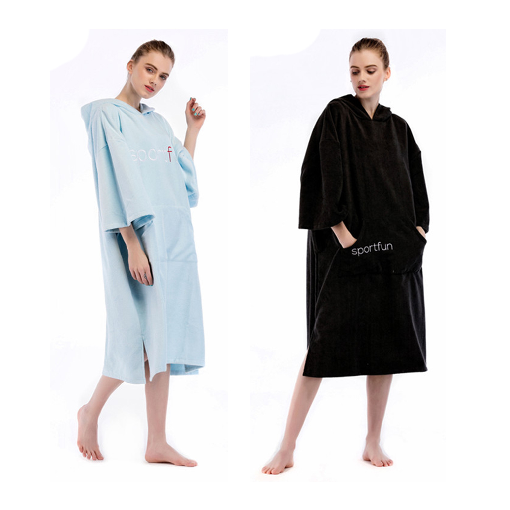 Unisex Soft Microfiber Water absorbing Wetsuit Changing Robe Bath Towel Bathrobe Hooded Poncho f Beach Surf
