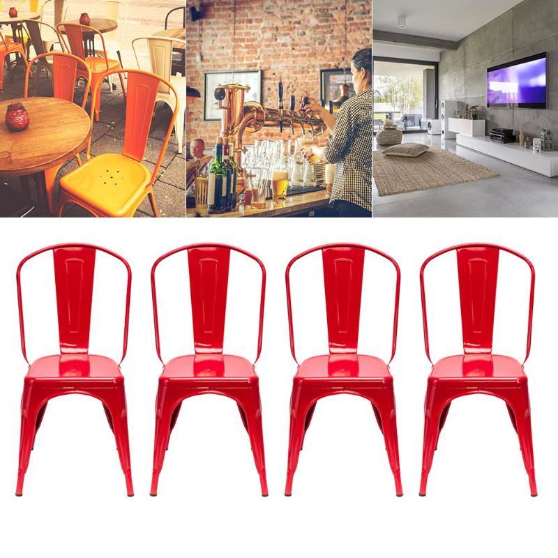 Draagbare 4 Stuks Rood Staal Rugleuning Stoelen Thuis Tuin Lounge Meubelen Kit Voor Cafe Bijeenkomsten Dining Kruk Dropshipping